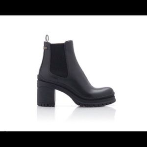 NEW PRADA Black Leather Ankle Boots 38.5 8.5